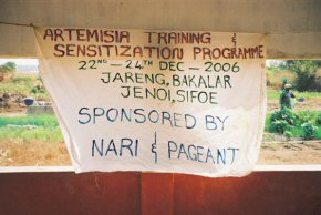 sign announcing the training programme