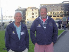 Mike (left) and Fraser in front of the Maritime Museum in Falmouth