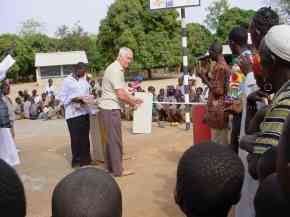 Ian Howard at the opening ceremnony for the multi-purpose court