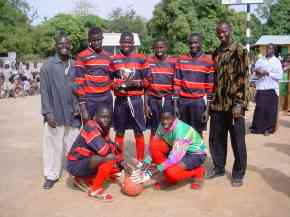 Bakalarr football team members in their new kit