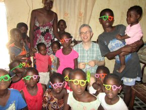 Chris and the kids wearing their pipe-cleaner glasses