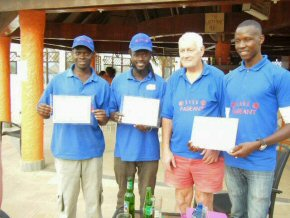 Ian with Wandifa, Abdoulie and Yankuba, with their certificates