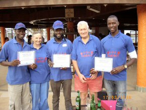 Certificates for the essential assistants - from the left Wandifa, Pippa, Abdoulie, Ian and Yankuba