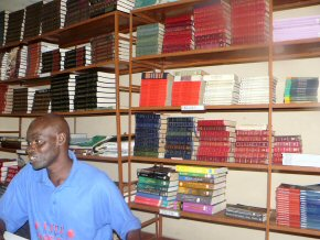 The very neat library at Brikama Methodist SSS. Wandifa looking studious! There are two complete sets of Encyclopaedia Britannica