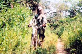 a GEPADG warden on his bicycle