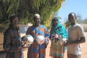 Staff with new footballs