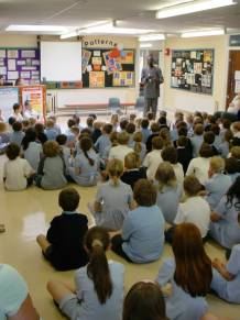 Bakary addresses the assembly at Warnham
