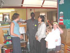 Bakary with Southwater staff and pupils