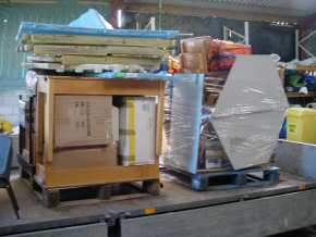 two of the pallets partly packed