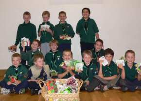 St John's Cub Scouts with seeds donated for The Gambia