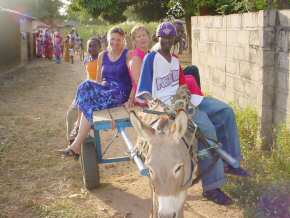 Pippa and Sandra on the donkey cart - Bakary's youngest brother Alieu is driving