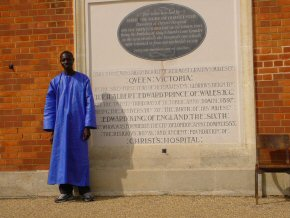 Omar and the commemorative stone of CH's move to Horsham