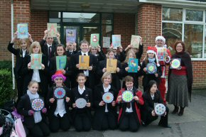 pupils & staff of Ringwood School  with their 'Gambia Hello' message
