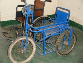 A wheelchair made at the Foundation for Disabled People to cope with sand etc