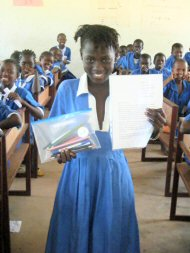 newly sponsored child with pencil case