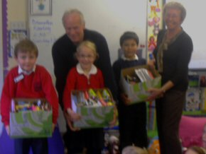 Brian and Ann and some pupils with some of the pencil collection (sorry for fuzzy photo!)