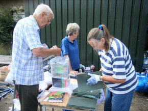 Ian, Ann and Pippa labelling late parcels