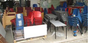 School classroom and office furniture ready to load