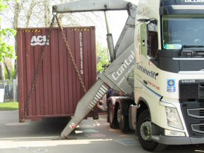 container 'dropping to ground'