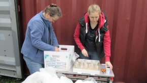 Fiona and Natasha packing laboratory glassware