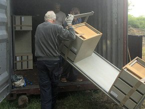 office furniture being loaded