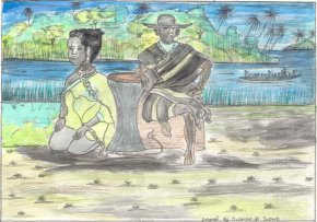 a woman slave kneels in chains on the river bank, while the slave trader stands behind her