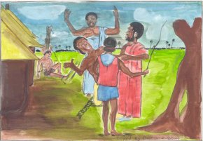 slave traders abducting slaves from an African village