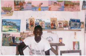 Ousman Sowe in his new studio surrounded by his work.