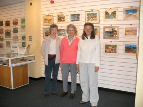 Catherine, Joan and Pippa after hanging the exhibition
