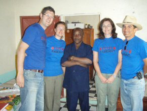 Adam, Katie, Clare and Guillermo with Kings Kid headmaster Jacob Amadi
