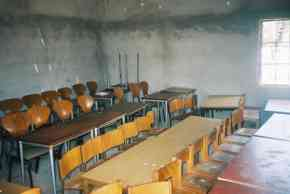 partly refurbished classroom at Saloum, showing chairs and tables