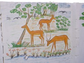 a painting showing some deer grazing under some trees
