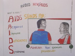 this panel describes what AIDS is, with the message 'abstain from sexual promiscuity'